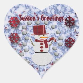 Adesivo Coração Boneco de neve alegre do alto