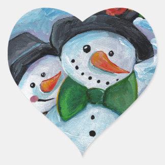 Adesivo Coração Bonecos de neve de visita cardinais