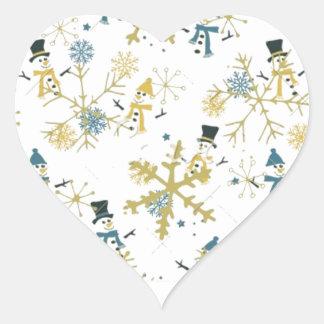 Adesivo Coração Bonecos de neve e flocos