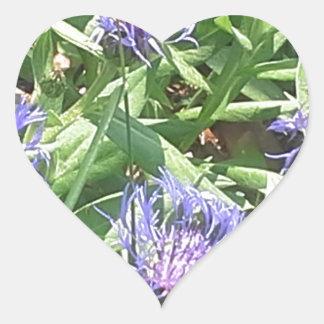 Adesivo Coração Borboleta em Coneflower roxo