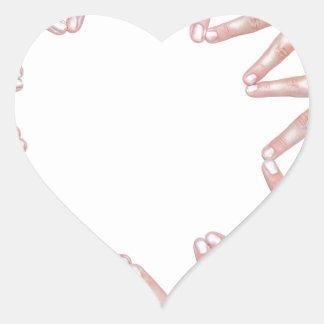 Adesivo Coração Braços das mãos das crianças que fazem a estrela