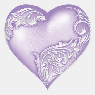 Adesivo Coração Branco de w do Lilac do rolo do coração