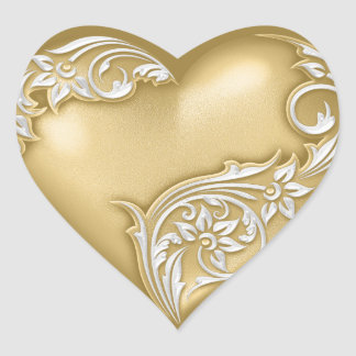 Adesivo Coração Branco de w do ouro do rolo do coração
