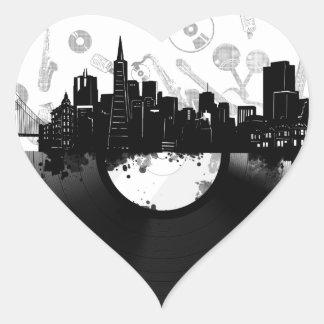 Adesivo Coração branco do vinil da skyline da cidade de San
