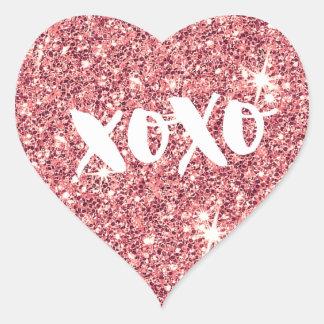 Adesivo Coração Brilho moderno do rosa do falso do CORAÇÃO CHIQUE