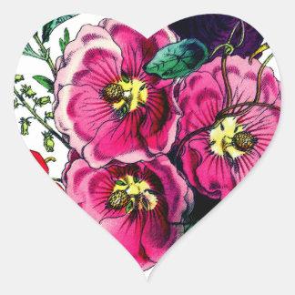 Adesivo Coração Buquê do Hollyhock das avós