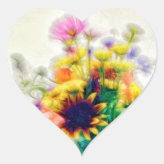 Adesivo Coração Buquê do Wildflower do verão