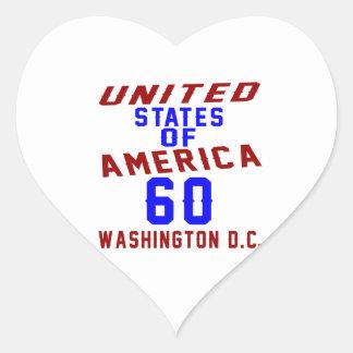 Adesivo Coração C.C. de Washington dos Estados Unidos da América