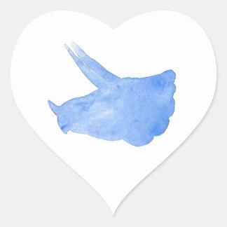 Adesivo Coração Cabeça azul do Triceratops