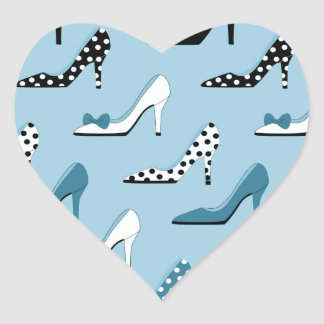 Adesivo Coração Calçados do azul do salto alto