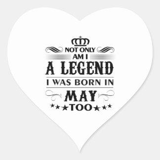 Adesivo Coração Camiseta das legendas do mês de maio