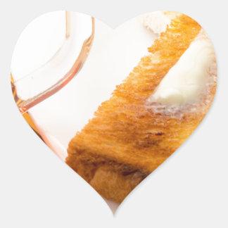 Adesivo Coração Caneca de chá e de brinde quente com manteiga