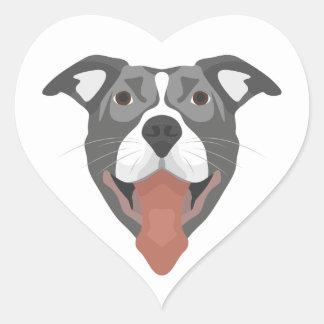 Adesivo Coração Cão Pitbull de sorriso da ilustração