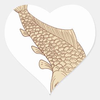 Adesivo Coração Carpa de Koi Nishikigoi que mergulha abaixo do