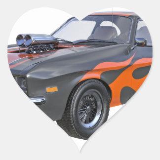 Adesivo Coração carro do músculo dos anos 70 com chama alaranjada