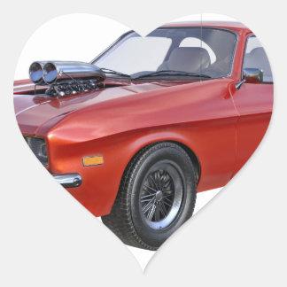 Adesivo Coração carro vermelho do músculo dos anos 70