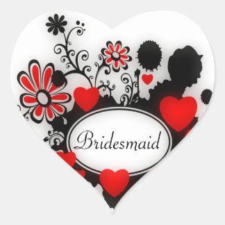 Adesivo Coração Casamento branco preto vermelho de Splats da flor