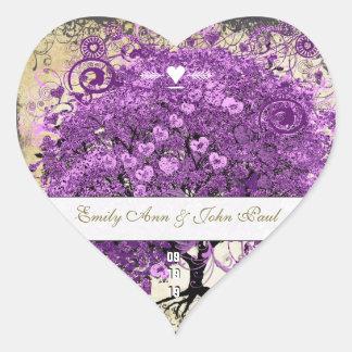 Adesivo Coração Casamento brilhante da árvore da folha de Purple