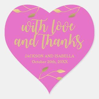 Adesivo Coração Casamento cor-de-rosa de néon brilhante