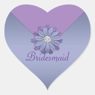 Adesivo Coração Casamento da flor da lavanda e da pervinca
