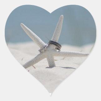 Adesivo Coração Casamento de praia da estrela do mar das alianças