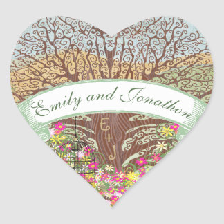 Adesivo Coração Casamento floral amarelo verde cor-de-rosa do