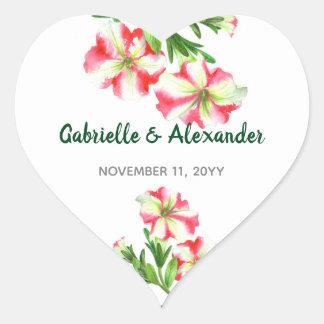 Adesivo Coração Casamento floral da arte dos petúnias brancos