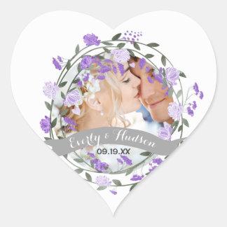 Adesivo Coração Casamento floral da grinalda da peônia roxa