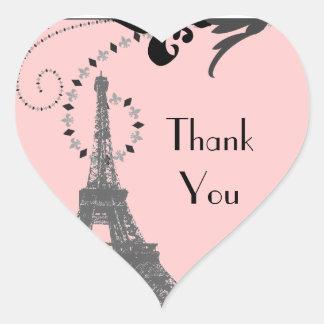 Adesivo Coração Casamento romântico de Paris da torre Eiffel do