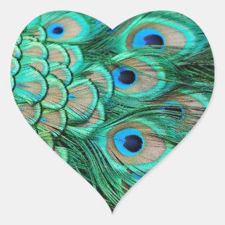 Adesivo Coração casamento romântico do pavão da cerceta de