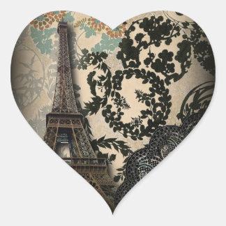 Adesivo Coração Casamento vintage floral sofisticado do laço de