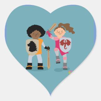 Adesivo Coração Cavaleiro das meninas para fora