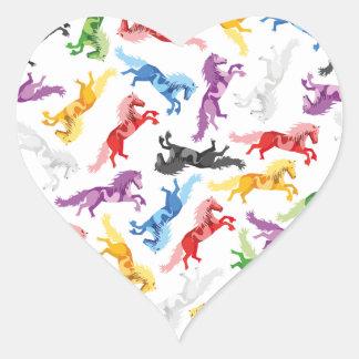 Adesivo Coração Cavalos de salto coloridos do teste padrão
