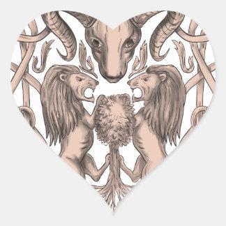Adesivo Coração Céltico Knotwo da brasão da árvore do leão dos