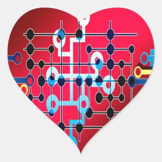Adesivo Coração cente do controle de traço dos circuitos do