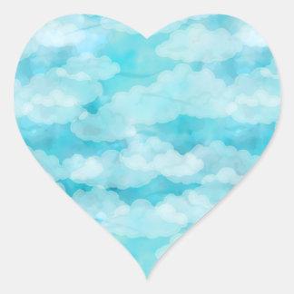 Adesivo Coração Céu azul, nuvens brancas, Cloudscape, céu nebuloso