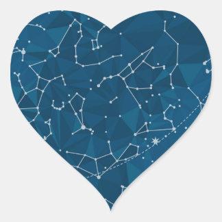 Adesivo Coração Céu nocturno azul do polígono