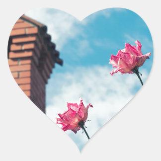 Adesivo Coração Chaminé e rosas selvagens