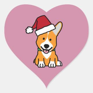 Adesivo Coração Chapéu do papai noel do Natal de Galês do Pembroke