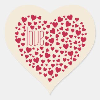 Adesivo Coração Cheio dos corações do vermelho do amor dos