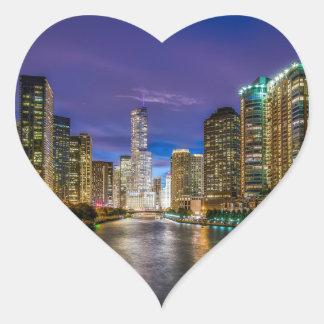 Adesivo Coração Chicago Illinois na noite