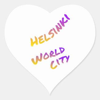 Adesivo Coração Cidade do mundo de Helsínquia, arte colorida do
