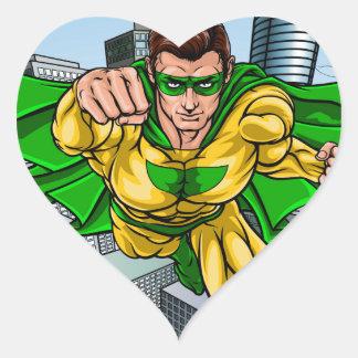 Adesivo Coração Cidade do super-herói do vôo da banda desenhada