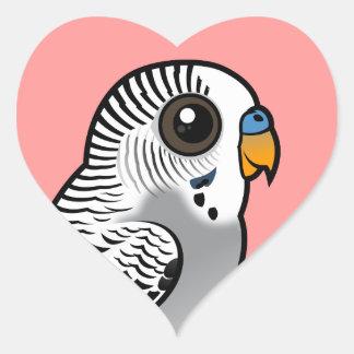 Adesivo Coração Cinza Budgie de Birdorable