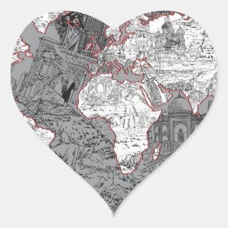 Adesivo Coração cinza do mapa do mundo