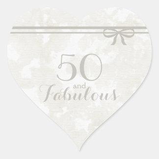 """Adesivo Coração Cinzas românticas e elegantes """"50 e fabulosos """""""