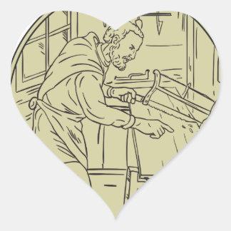 Adesivo Coração Círculo de madeira do Sawing medieval do