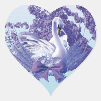 Adesivo Coração cisne místico