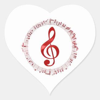 Adesivo Coração Clef de triplo vermelho em notas da música