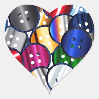 Adesivo Coração Coleção do botão da cor
